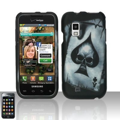 Hard Rubber Feel Design Case for Samsung Fascinate - Spade Skull