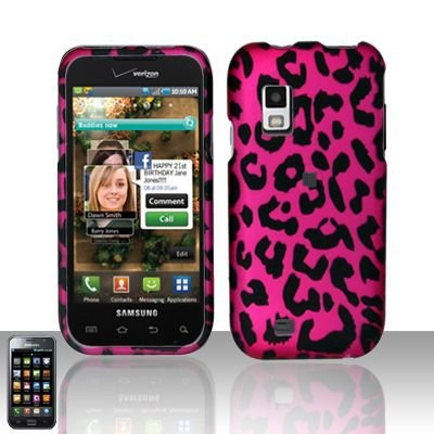 Hard Rubber Feel Design Case for Samsung Fascinate - Pink Leopard