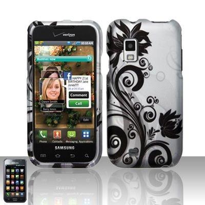 Hard Rubber Feel Design Case for Samsung Fascinate - Black Vines