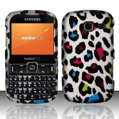 Hard Rubber Feel Design Case for Samsung Freeform 3/Comment - Colorful Leopard