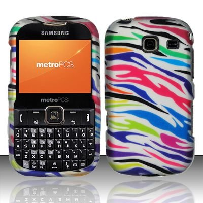 Hard Rubber Feel Design Case for Samsung Freeform 3/Comment - Colorful Zebra
