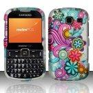 Hard Rubber Feel Design Case for Samsung Freeform 3/Comment - Purple Blue Flowers