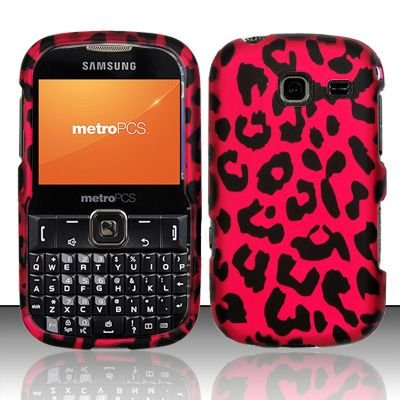 Hard Rubber Feel Design Case for Samsung Freeform 3/Comment - Pink Leopard