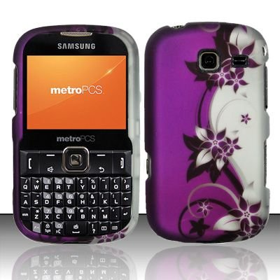 Hard Rubber Feel Design Case for Samsung Freeform 3/Comment - Purple Vines