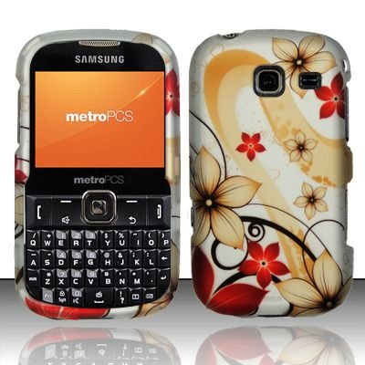 Hard Rubber Feel Design Case for Samsung Freeform 3/Comment - Red Flowers