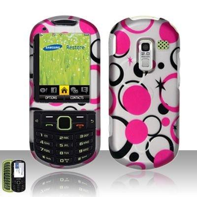 Hard Rubber Feel Design Case for Samsung Messager 3 - Pink Dots