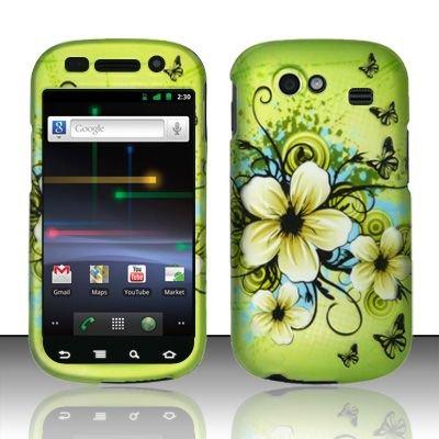 Hard Rubber Feel Design Case for Samsung Nexus S 4G - Hawaiian Flowers
