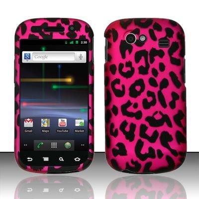 Hard Rubber Feel Design Case for Samsung Nexus S 4G - Pink Leopard