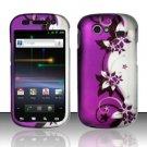 Hard Rubber Feel Design Case for Samsung Nexus S 4G - Purple Vines