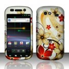 Hard Rubber Feel Design Case for Samsung Nexus S 4G - Red Flowers
