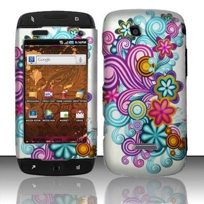 Hard Rubber Feel Design Case for Samsung Sidekick 4G - Purple Blue Flowers