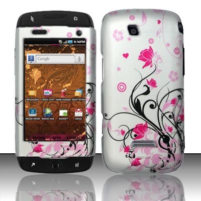 Hard Rubber Feel Design Case for Samsung Sidekick 4G - Pink Garden