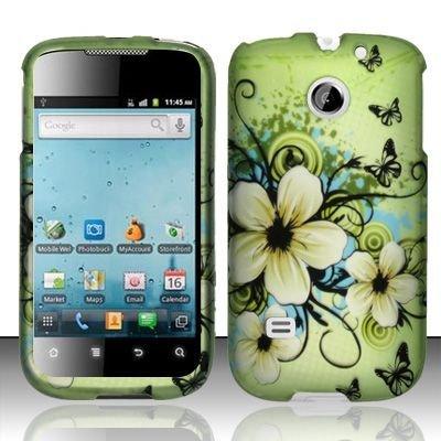 Hard Rubber Feel Design Case for Huawei Ascend II M865 - Hawaiian Flowers