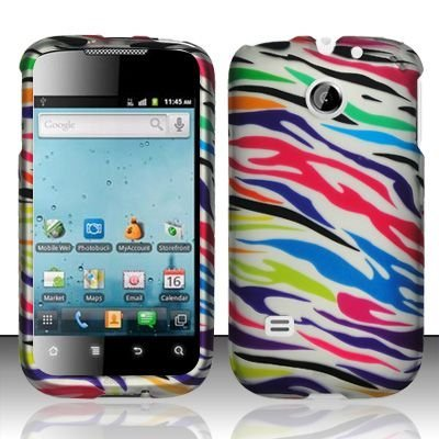 Hard Rubber Feel Design Case for Huawei Ascend II M865 - Colorful Zebra