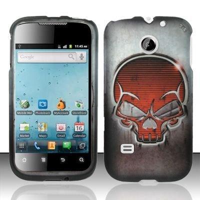 Hard Rubber Feel Design Case for Huawei Ascend II M865 - Red Skull