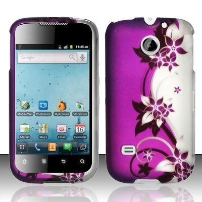 Hard Rubber Feel Design Case for Huawei Ascend II M865 - Purple Vines