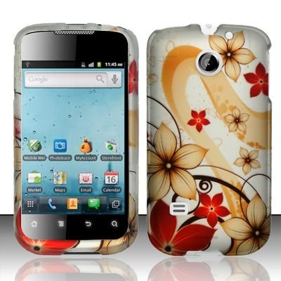 Hard Rubber Feel Design Case for Huawei Ascend II M865 - Red Flowers