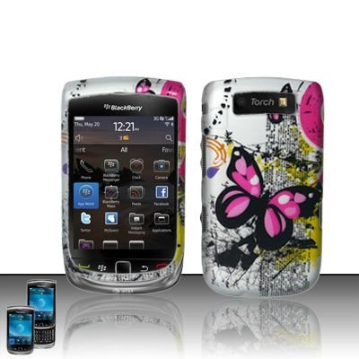 Hard Rubber Feel Design Case for Blackberry Torch 9800 - Silver Butterfly