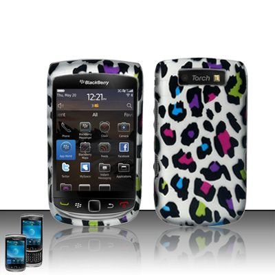 Hard Rubber Feel Design Case for Blackberry Torch 9800 - Colorful Leopard