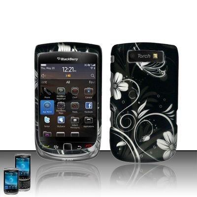 Hard Rubber Feel Design Case for Blackberry Torch 9800 - Midnight Garden