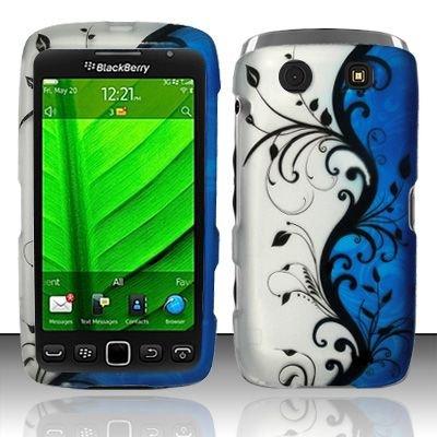Hard Rubber Feel Design Case for Blackberry Torch 9850/9860 - Blue Vines