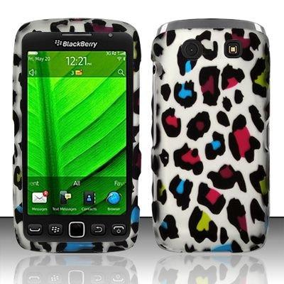 Hard Rubber Feel Design Case for Blackberry Torch 9850/9860 - Colorful Leopard