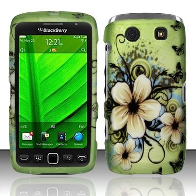 Hard Rubber Feel Design Case for Blackberry Torch 9850/9860 - Hawaiian Flowers