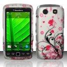 Hard Rubber Feel Design Case for Blackberry Torch 9850/9860 - Pink Garden