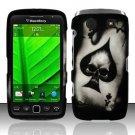 Hard Rubber Feel Design Case for Blackberry Torch 9850/9860 - Spade Skull
