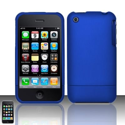 Hard Rubber Feel Slide Cover for Apple iPhone 3G/3Gs - Blue
