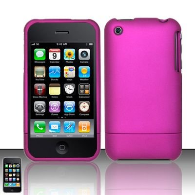 Hard Rubber Feel Slide Cover for Apple iPhone 3G/3Gs - Hot Pink