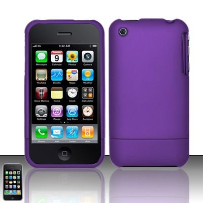 Hard Rubber Feel Slide Cover for Apple iPhone 3G/3Gs - Purple