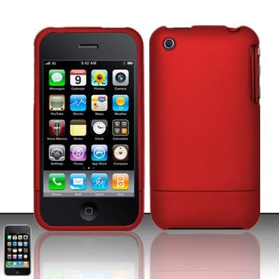Hard Rubber Feel Slide Cover for Apple iPhone 3G/3Gs - Red