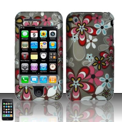 Hard Rubber Feel Design Case for Apple iPhone 3G/3Gs - Autumn Flowers