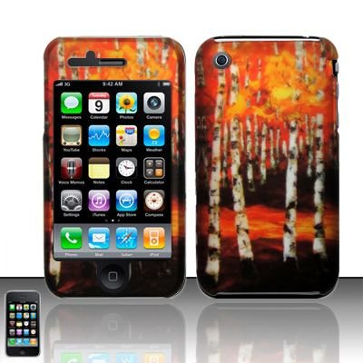 Hard Rubber Feel Design Case for Apple iPhone 3G/3Gs - Autumn Forest