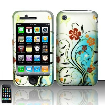 Hard Rubber Feel Design Case for Apple iPhone 3G/3Gs - Autumn Garden