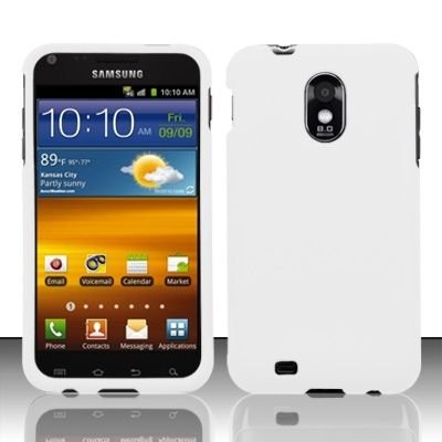 Hard Rubber Feel Plastic Case for Samsung Epic Touch 4G/Galaxy S2 - White