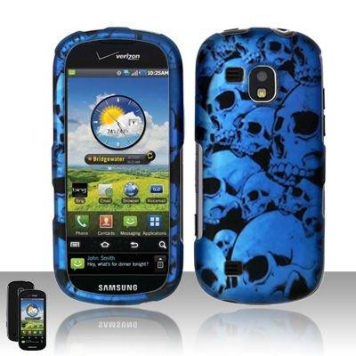 Hard Rubber Feel Design Case for Samsung Continuum - Blue Skulls