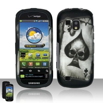 Hard Rubber Feel Design Case for Samsung Continuum - Spade Skull