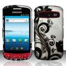 Hard Rubber Feel Design Case for Samsung Admire R720 - Black Vines