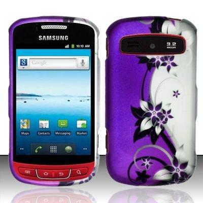 Hard Rubber Feel Design Case for Samsung Admire R720 - Purple Vines