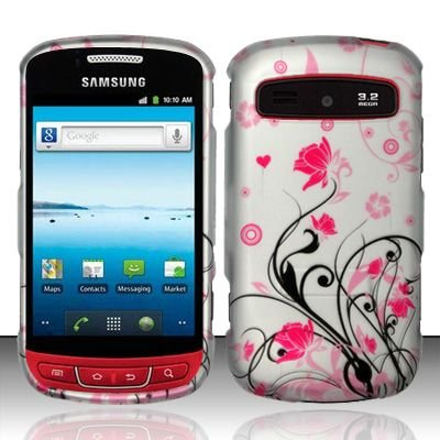 Hard Rubber Feel Design Case for Samsung Admire R720 - Pink Garden