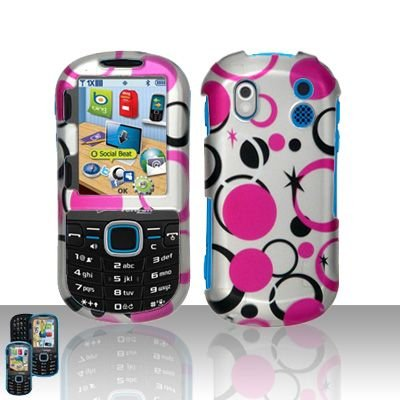 Hard Rubber Feel Design Case for Samsung Intensity 2 - Pink Dots