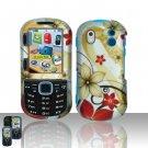 Hard Rubber Feel Design Case for Samsung Intensity 2 - Red Flowers