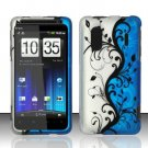 Hard Rubber Feel Design Case for HTC EVO Design 4G - Blue Vines
