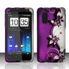 Hard Rubber Feel Design Case for HTC EVO Design 4G - Purple Vines