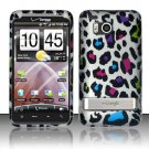 Hard Rubber Feel Design Case for HTC ThunderBolt 4G (Verizon) - Colorful Leopard