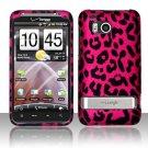 Hard Rubber Feel Design Case for HTC ThunderBolt 4G (Verizon) - Pink Leopard