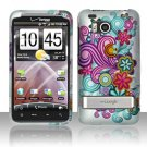 Hard Rubber Feel Design Case for HTC ThunderBolt 4G (Verizon) - Purple Blue Flowers
