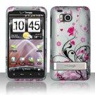 Hard Rubber Feel Design Case for HTC ThunderBolt 4G (Verizon) - Pink Garden